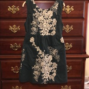 J crew size 8 blue floral embroidered dress